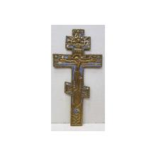 Crucifix din bronz cu email, Rusia cca. 1900