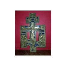 CRUCIFIX DIN BRONZ CU EMAIL , RUSIA , CIRCA 1900