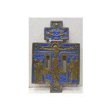 Crucifix rusesc din bronz decorat cu email