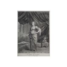 DAME GREQUE , DANS SON APARTEMENT , GRAVURA ORIGINALA PE METAL DE GERARD SCOTIN , 1714