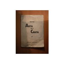 DESPRE ARTA DE A CANTA de MARGOT ZAHARIA