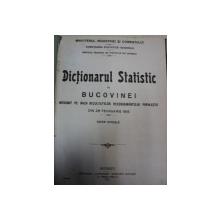 DICTIONARUL STATISTIC AL BUCOVINEI BUCURESTI 1922