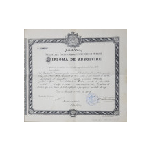 DIPLOMA DE ABSOLVIRE A LICEULUI MATEI BASARAB DIN BUCURESTI , EMISA LA 1 IULIE 1906