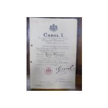Diploma de cetatenie Carol I cu semnatura olografa T. Maiorescu, Bucuresti 15 Mai 1913