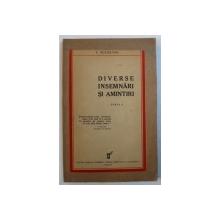 DIVERSE INSEMNARI SI AMINTIRI de I . SUCHIANU , 1933