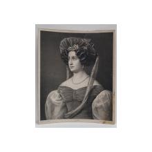 DOAMNA CU PALARIE IN COSTUM DE EPOCA , LITOGRAFIE MONOCROMA de J. MELCHNER , SECOLUL XIX