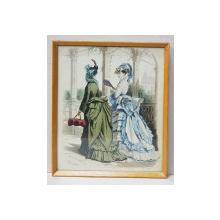 DOAMNE  IN TINUTE DE PROMENADA , MODA PARIZIANA ,  GRAVURA ORIGINALA COLORATA MANUAL , DATATA 1873