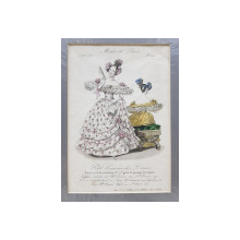 DOUA DOAMNE CU ROCHII BRODATE , GRAVURA COLORATA MANUAL , REVISTA  'MODES DE PARIS ' , 10 MARTIE 1835