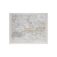 DUCATUL ANHALT DESSAU , COTHEN si BERNBURG , HARTA FIZICA , TERMENII SI DENUMIRILE IN LIMBA GERMANA , GRAVURA , MIJLOCUL SEC. XIX