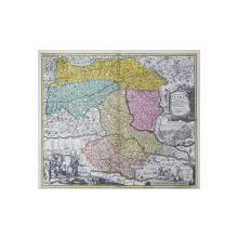 DUCATUS STIRIA  - NOVISSIMA TABULA de JOHANN BAPTISTE HOMANN , GRAVURA PE CUPRU COLORATA MANUAL , SECOLUL XVIII