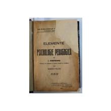 ELEMENTE DE PSICHOLOGIE PEDAGOGICA de I . NISIPEANU , 1920
