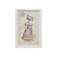 EVENING COSTUME , DOAMNA CU ROCHIE ROZ SI PALARIE CU FLORI , GRAVURA COLORATA MANUAL , 1828
