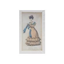 EVENING DRESS , DOMANA IN ROCHIE SI SAL ALBASTRU , GRAVURA COLORATA MANUAL PENTRU REVISTA DE MODA , DATATA 1828