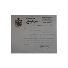 FACTURA A FABRICII DE CIOCOLATA ZAMFIRESCU , BUCURESTI 21 IULIE 1942