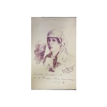 FEMEIE CU NAFRAMA , DESEN  de C. POPESCU  , SEMNAT DREAPTA JOS , DATAT 1918