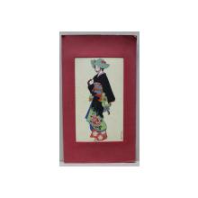 FEMEIE IN COSTUM TRADITIONAL JAPONEZ LITOGRAFIE