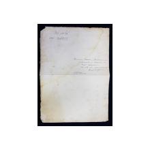 FOAIE CU DEDICATIA LUI CONSTANTIN C. GIURESCU PENTRU COLONELUL TURTUREANU , DATATA 6 APRILIE 1944 , PREZINTA HALOURI DE APA *