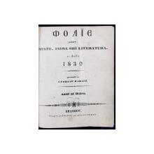 FOAIE PENTRU MINTE INIMA SI LITERATURA -1839-BRASOV -GEORGE BARITZ