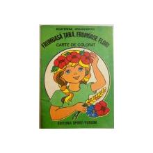 FRUMOASA TARA , FRUMOASE FLORI ,CARTE DE COLORAT de ECATERINA DRAGANOVICI , 1983