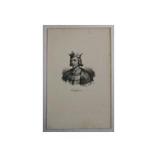 F.S. DELPECH ( 1778 - 1825 )  - CHILDEBERT II , LITOGRAFIE MONOCROMA , CCA. 1820