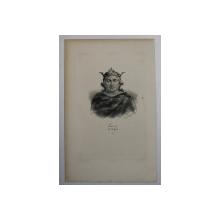 F.S. DELPECH ( 1778 - 1825 )  - LOUIS VI DIT LE GROS , LITOGRAFIE MONOCROMA , CCA. 1820