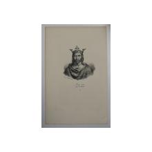 F.S. DELPECH ( 1778 - 1825 )  - LOUIS VII DIT LE JEUNE , LITOGRAFIE MONOCROMA , CCA. 1820