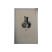 F.S. DELPECH ( 1778 - 1825 )  - PHILIPPE II DIT AUGUSTE , LITOGRAFIE MONOCROMA , CCA. 1820