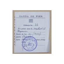 GARDA DE FIER  , MIHAIL  V. NEGREANU , CHITANTA  1933