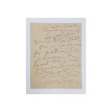GEORGE ENESCU  - SCRISOARE CU SEMNATURA OLOGRAFA A COMPOZITORULUI , IN LIMBA FRANCEZA , DATATA 1925