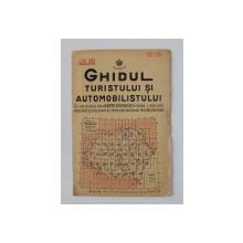 GHIDUL TURISTULUI SI AUTOMOBILISTULUI , HARTA ROMANIEI ,  CAROUL 15  -  BISTRITA - DEJ - TARGU  MURES   de M.D. MOLDOVEANU , 1936