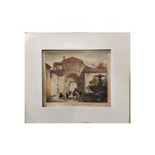 """GRAVURA AVANSI DELLA CHIESA DI S. COSIMATO """"Traftevere in Roma"""" 1829"""