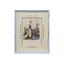 GRAVURA COLORATA MANUAL  - DOUA DOAMNE IN ROCHII DE EPOCA , RECLAMA JURNALULUI  ' LA MODE ILLUSTREE , PARIS , 1884