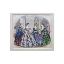 GRAVURA COLORATA MANUAL , GRUP DE DOAMNE CU FETITA , PENTRU JURNALUL  'FASHIONS FOR LONDON AND PARIS ' , DATATA 1854