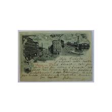 GRUSS AUS WIEN  - SALUTARI DIN VIENA , CARTE POSTALA ILUSTRATA , COLAJ  DE DOUA IMAGINI , MONOCROMA , CIRCULATA , CLASICA , DATATA 1901