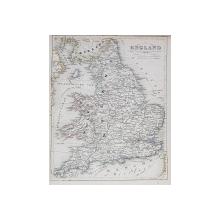 HARTA ANGLIEI LA 1852 ,GRAVURA ,  DENUMIRILE SI TERMENII IN LIMBA GERMANA , DELIMITARILE COLORATE , MIJLOCUL SECOLULUI XIX