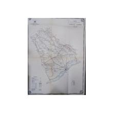Harta cailor de comunicatie din Judetul Vlasca 1916