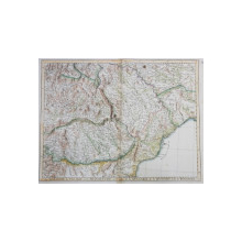 HARTA FIZICA A MOLDOVEI , VALAHIEI , TRANSILVANIEI , CU PARTI DIN BULGARIA , UNGARIA  SI POLONIA ,GRAVURA COLORATA ,  DENUMIRILE IN LIMBA FRANCEZA , autor P. SARTINI , 1777