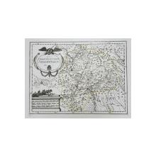 HARTA Franz Johann Joseph von Reilly - DAS GROSSFURSTENTHUM SIEBENBURGEN  - MARELUI PRINCIPAT AL TRANSILVANIEI , GRAVURA CU INTERVENTII COLOR MANUALE , SECOLUL XVIII