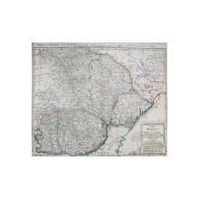 HARTA MOLDOVEI SI VALAHIEI , INCLUSIV BUCOVINA SI BASARABIA  de F.L. GUSSEFELD , GRAVURA COLORATA MANUAL, DENUMIRILE IN LIMBA GERMANA  . 1785