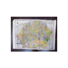 Harta Romaniei Mari, fizica, administrativa si turistica , intocmita de M. D. Moldoveanu 1934