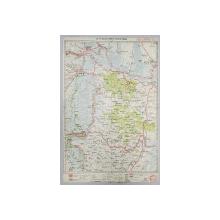 HARTA ZONEI GALATI - BRAILA - TULCEA - ISMAIL , LITOGRAFIE de M.D MOLDOVEANU , 1936