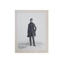 HENRI MALINVAUD , LITOGRAFIE DUPA UN DESEN de AUGUSTE RAFFET , MONOCROMA, DATATA 1848
