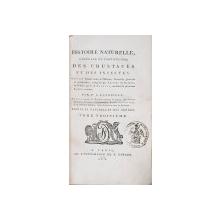 HISTOIRE NATURELLE, GENERALE ET PARTICULIERE DES CRUSTACES ET DES INSECTES par P. A. LATREILLE, TOM III - PARIS, 1802