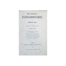 HISTOIRES EXTRAORDINAIRES par EDGAR POE tradusa de CHARLES BAUDELAIRE - PARIS, 1857