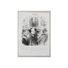 HONORE DAUMIER , LITOGRAFIE ORIGINALA  ' SALON DE 1842  ' ,  PREZINTA PETE *