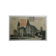 HUNEDOARA -  CASTELUL HUNIAZILOR , CARTE POSTALA ILUSTRATA , MONOCROMA, CIRCULATA , DATATA 1924