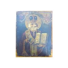 Icoana pe lemn romaneasca Sf. Nicolae , datata pe verso 1855