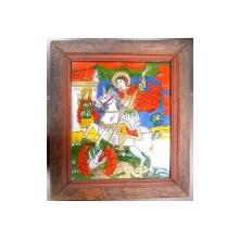 Icoana pe sticla , Sf. Gheorghe omorand balaurul , sec XIX