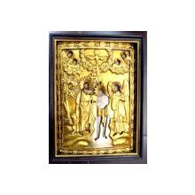 Icoana romaneasca cu ferecatura din lemn si foita de aur , Botezul Domnului , sec XIX