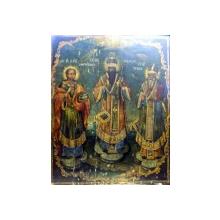 Icoana pe lemn romaneasca ,Sf. Pantelimon , Sf. Vasile, Sf. Spiridon , sec XIX